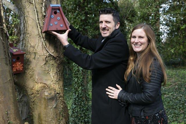 David and Sam Mackie from Basingstoke with bird boxes