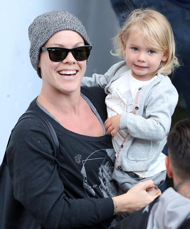 Pretty <i>with</i> Pink! The pop star held her little blond beauty as her tour made a stop in Sydney, Australia. (8/3/2013)