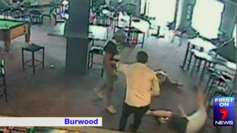 In Burwood, Hema allegedly knocked down two patrons in another assault. Photo: CCTV