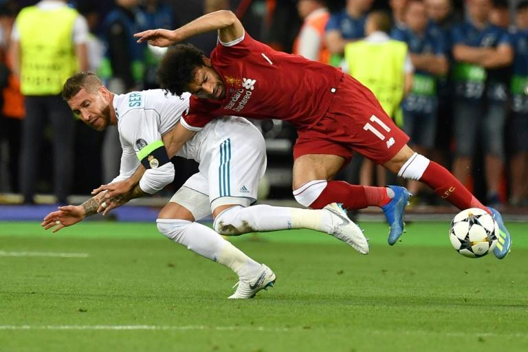 Mohamed Salah was forced off early in the 2018 Champions League final by a shoulder injury suffered in a clash with Sergio Ramos