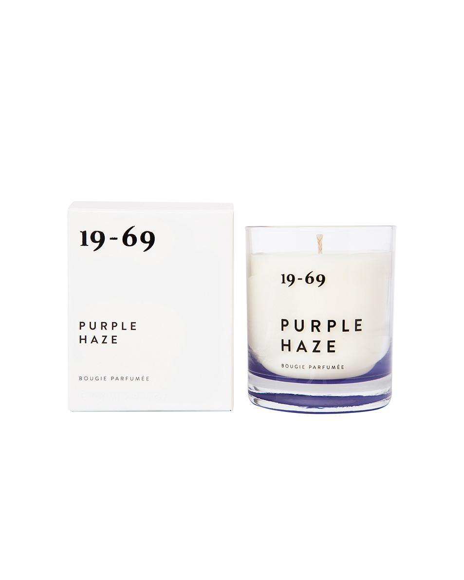 """If Purple Kush isn't your thing, how about some Purple Haze? It's infused with cannabis, white musk, and violet leaf, and is meant to embody """"the era of Woodstock and the counter-culture movement.""""<br><br><strong>19-69</strong> Candle, $, available at <a href=""""https://go.skimresources.com/?id=30283X879131&url=https%3A%2F%2Fwww.fwrd.com%2Fproduct-1969-candle-in-purple-haze%2FNTSN-UA8%2F%3Fd%3DWomens%26currency%3DUSD%26countrycode%3Dus%26gclid%3DEAIaIQobChMIkpm74OrI4QIVBo3ICh09RQt_EAQYEyABEgIIlPD_BwE"""" rel=""""nofollow noopener"""" target=""""_blank"""" data-ylk=""""slk:Forward By Elyse Walker"""" class=""""link rapid-noclick-resp"""">Forward By Elyse Walker</a>"""