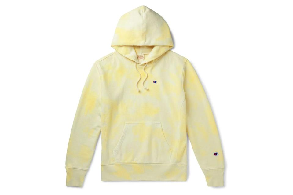 "$205, Mr Porter. <a href=""https://www.mrporter.com/en-us/mens/product/champion/clothing/hoodies/logo-embroidered-tie-dyed-fleece-back-cotton-blend-jersey-hoodie/30049528927133783"" rel=""nofollow noopener"" target=""_blank"" data-ylk=""slk:Get it now!"" class=""link rapid-noclick-resp"">Get it now!</a>"