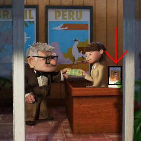 "<p>When <em>Up</em>'s Carl visits a travel agent, one of the framed brochures on her desk features a character from ""<a href=""https://go.redirectingat.com?id=74968X1596630&url=https%3A%2F%2Fwww.disneyplus.com%2Fmovies%2Fknick-knack-theatrical-short%2F2JuOlITgHs4J&sref=https%3A%2F%2Fwww.redbookmag.com%2Flife%2Fg35189549%2Fpixar-easter-eggs%2F"" rel=""nofollow noopener"" target=""_blank"" data-ylk=""slk:Knick Knack"" class=""link rapid-noclick-resp"">Knick Knack</a>,"" a Pixar short about the secret life of travel souvenirs that the company made before <em>Toy Story</em>. </p>"