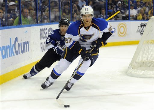 St. Louis Blues defenseman Alex Pietrangelo, right, controls the puck ahead of Tampa Bay Lightning right wing Martin St. Louis during the second period of an NHL hockey game, Saturday, March 17, 2012, in Tampa, Fla. (AP Photo/Brian Blanco)