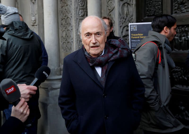 FILE PHOTO: Former FIFA president Blatter arrives before a commemoration service in Zurich