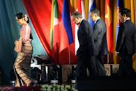 Among those meeting at the ASEAN conference were Myanmar's Foreign Minister Aung San Suu Kyi (L) and her counterparts from Thailand, Malaysia and Vietnam