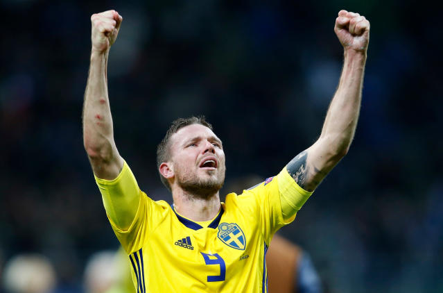 In this image taken on Monday, Nov. 13, 2017 Sweden's Marcus Berg celebrates at the end of the World Cup qualifying play-off second leg soccer match between Italy and Sweden, at the Milan San Siro stadium, Italy. (AP Photo/Antonio Calanni)