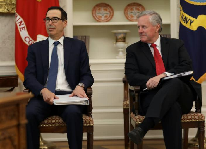 Treasury Secretary Mnuchin and White House Chief of Staff Meadows attend meeting to discuss coronavirus aid legislation at the White House in Washington