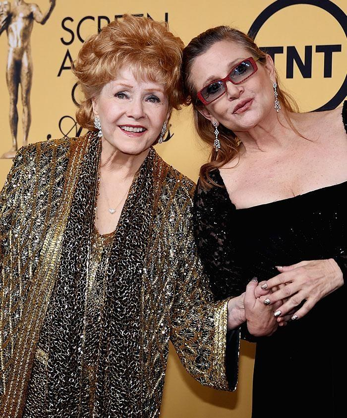 Debbie Reynolds (L) died a day after Carrie Fisher. Source: Getty.