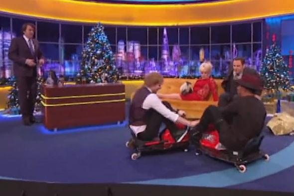 Lewis Hamilton and Ed Sheeran try out Crazy Carts