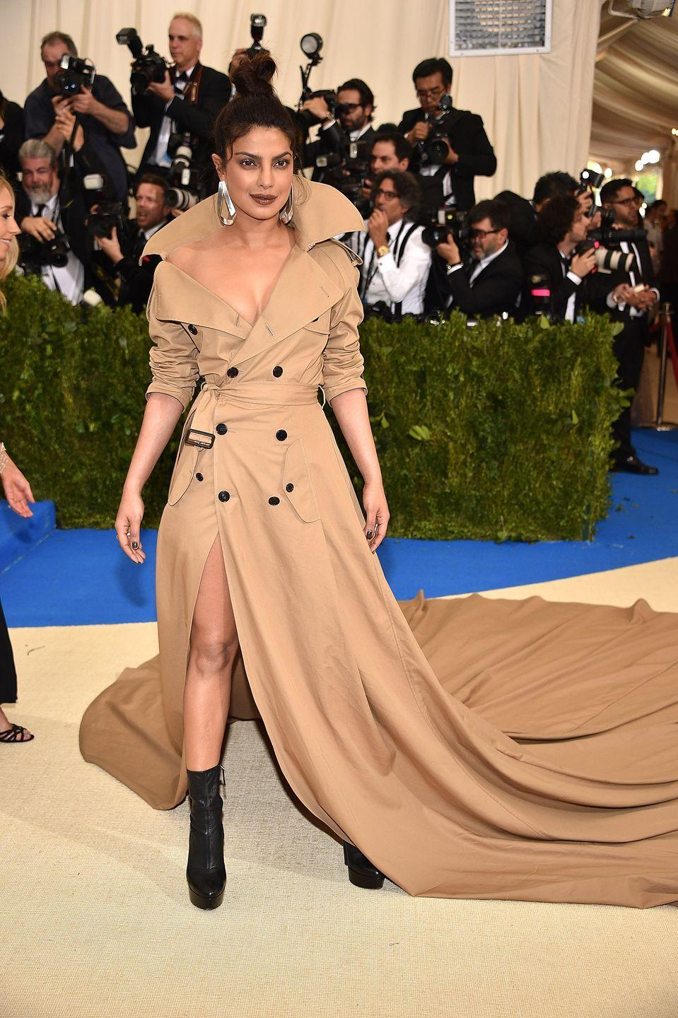 <p>It's hard to stand out from the crowd of dramatic dresses that flood the red carpet at the Met Gala, but Priyanka Chopra somehow managed it by opting for something slightly different in 2017. Channelling the theme of that year - paying tribute to Rei Kawakubo/Comme des Garçons - the actress stole the show in a Ralph Lauren trench coat dress featuring a cascading train. Now, of course, the moment is just as well known for being the night she first met her now-husband, Nick Jonas, who was also a guest of Ralph Lauren. A lucky dress indeed. </p>