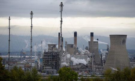 FILE PHOTO: A general view of the Grangemouth oil refinery, at Grangemouth in Scotland