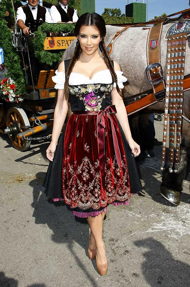 "While on her European promotional tour for ""Keeping Up With the Kardashians,"" Kim K. stopped off in Munich to celebrate Oktoberfest's 200th anniversary and thoroughly embarrassed herself by pairing a traditional German dirndl and fishtail braids with nude Christian Louboutin platform pumps. Florian Seefried/<a href=""http://www.gettyimages.com/"" target=""new"">GettyImages.com</a> - September 22, 2010"