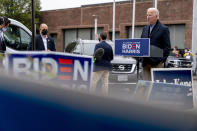 Democratic presidential candidate former Vice President Joe Biden speaks to amember of the media outside a voter service center, Monday, Oct. 26, 2020, in Chester, Pa. (AP Photo/Andrew Harnik)