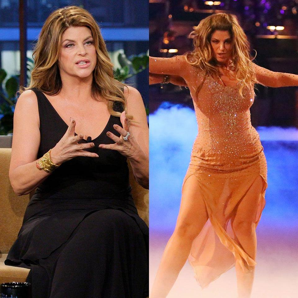 """<p>The <em>Cheers</em> star had double the weight loss opportunity with her second-place finish on <em>Dancing with the Stars</em> season 12 and return for All-Stars season 15. Kirstie lost 100 pounds in 2011 while competing on season 12.</p><p>Her weight loss on the show and as a Jenny Craig ambassador spurred surgery rumors, <em><a href=""""https://www.eonline.com/news/265149/kirstie-alley-denies-plastic-surgery-dishes-weight-loss-secret"""" rel=""""nofollow noopener"""" target=""""_blank"""" data-ylk=""""slk:E News"""" class=""""link rapid-noclick-resp"""">E News</a></em> reported. """"NO surgery, NO flippin lasers, NO barfing, NO starving...Jeez...my products, organic food, dance,"""" she <a href=""""https://twitter.com/#%21/kirstiealley"""" rel=""""nofollow noopener"""" target=""""_blank"""" data-ylk=""""slk:tweeted"""" class=""""link rapid-noclick-resp"""">tweeted</a> a few months after her second-place finish on the show's 12th season.</p>"""
