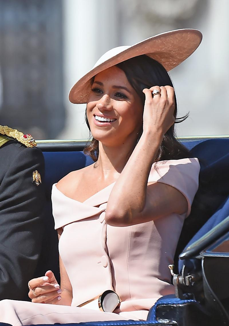 Meghan, Duchess of Sussex, travels in an open carriage to the Trooping the Color ceremony on June 9.  (Anwar Hussein via Getty Images)