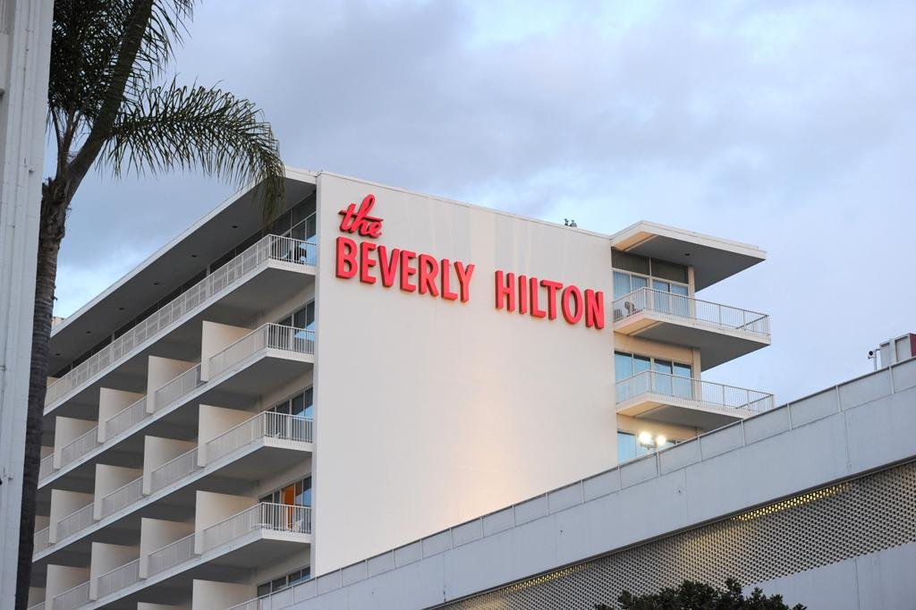 BEVERLY HILLS, CA - FEBRUARY 11:  A general view of the Beverly Hilton Hotel before the Clive Davis and The Recording Academy's 2012 Pre-GRAMMY Gala And Salute To Industry Icons Honoring Richard Branson on Feburary 11, 2012 in Beverly Hills, California. It is believed that Whitney Houston passed away inside of the Beverly Hilton Hotel. (Photo by Kevin Winter/Getty Images)