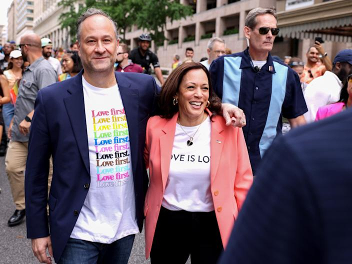 Kamala Harris and husband Doug Emhoff join marchers for the Capital Pride Parade in Washington DC, on Saturday (Getty)