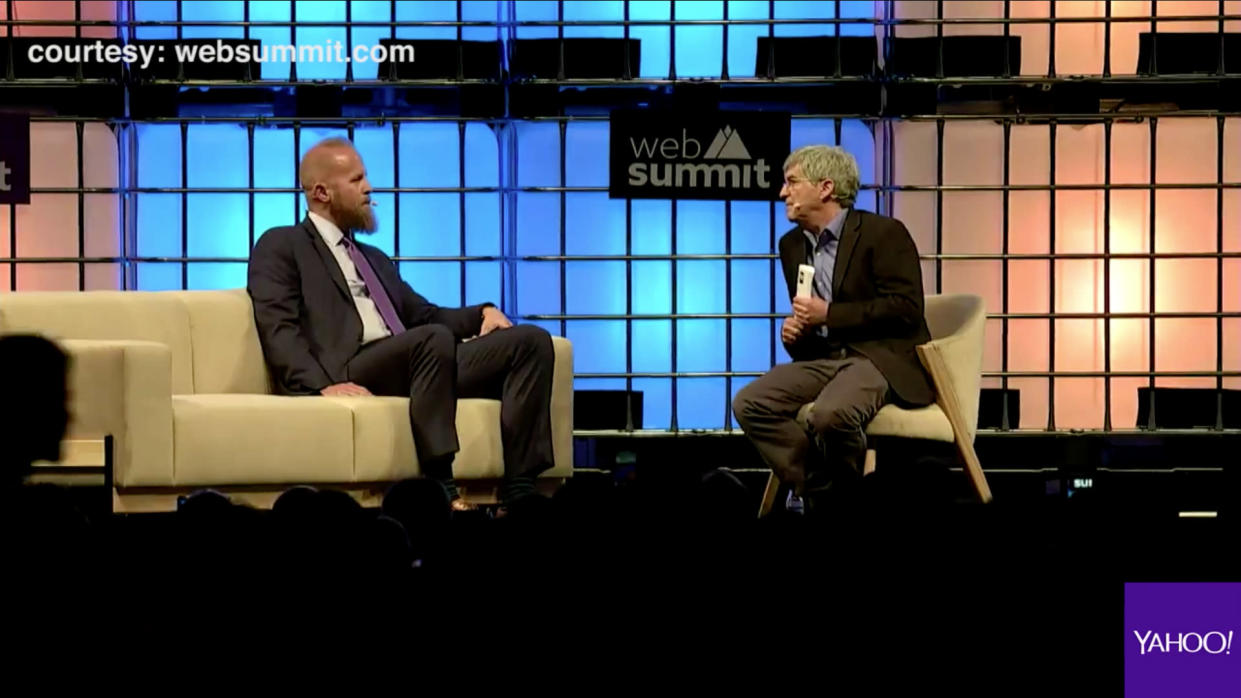 At the 2017 Web Summit in Lisbon, Portugal, Yahoo News Chief Investigative Correspondent Michael Isikoff talked to Brad Parscale, Digital Director from the Donald J. Trump Presidential Campaign about getting duped by a Russian Twitter bot. (Websummit.com via Yahoo News)