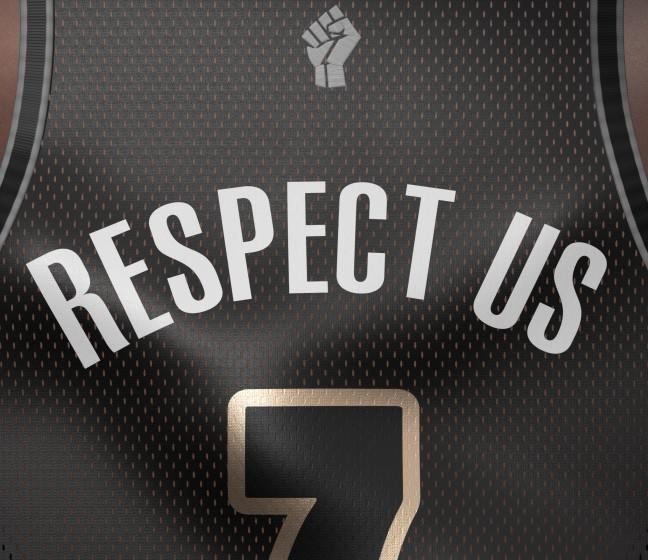 """Each NBA player has the option of wearing a social justice message instead of their name on the back of their jersey. <span class=""""copyright"""">(Michael Rodriguez / For The Times))</span>"""