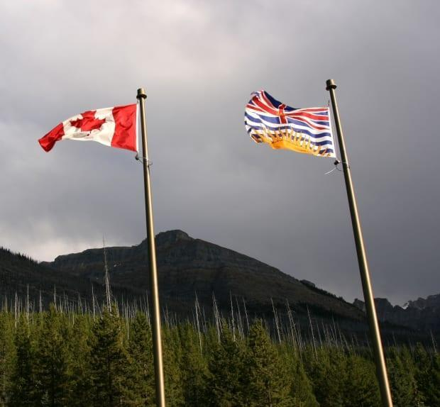 A B.C. flag is shown at right, flying alongside the Canadian flag. (Tupungato/Shutterstock  - image credit)