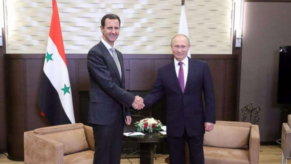 Syrian president Bashar Assad meets with Russia's Putin in Sochi (ABC News)