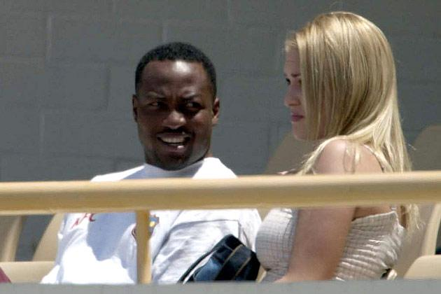 10 Nov 2000:  Brian Lara of the West Indies with Lindsay Ward watching the match between the Western Warriors and the West Indies at the WACA ground in  Perth, Australia.DIGITAL IMAGE. Mandatory Credit: Tony McDonough/ALLSPORT