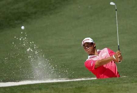 Hideki Matsuyama of Japan hits to the second green during Tuesday practice rounds for the 2017 Masters at Augusta National Golf Club in Augusta, Georgia, U.S., April 4, 2017. REUTERS/Mike Segar
