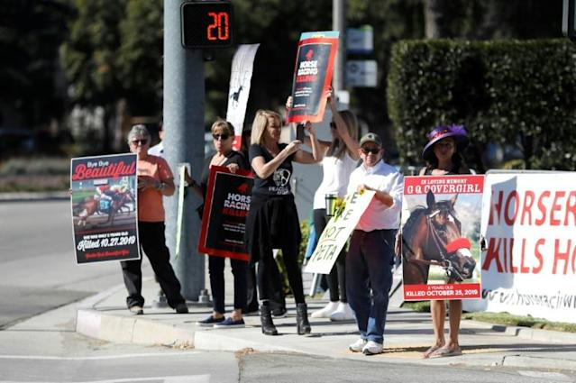 Protesters hold signs against horse racing in front of Santa Anita Park, where the $28 million Breeders' Cup kicked off with five races on Friday (AFP Photo/Sean M. Haffey)