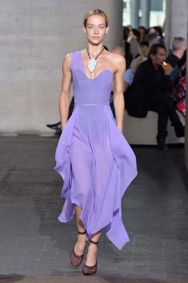 During the Roland Mouret show at London Fashion Week on Sept. 17.
