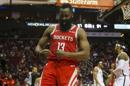FILE PHOTO: Jan 16, 2019; Houston, TX, USA; Houston Rockets guard James Harden (13) flexes after scoring on a layup during the third quarter against the Brooklyn Nets at Toyota Center. Mandatory Credit: John Glaser-USA TODAY Sports