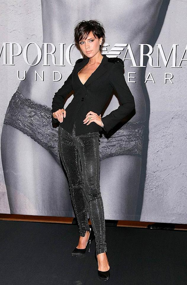 "Victoria Beckham was sleek and chic in an updated 'do, sequined blazer, skin-tight trousers, and steel-heeled stilettos while promoting her posh Armani underwear ad campaign at Macy's Herald Square. Michael Loccisano/<a href=""http://www.gettyimages.com/"" target=""new"">GettyImages.com</a> - May 6, 2009"