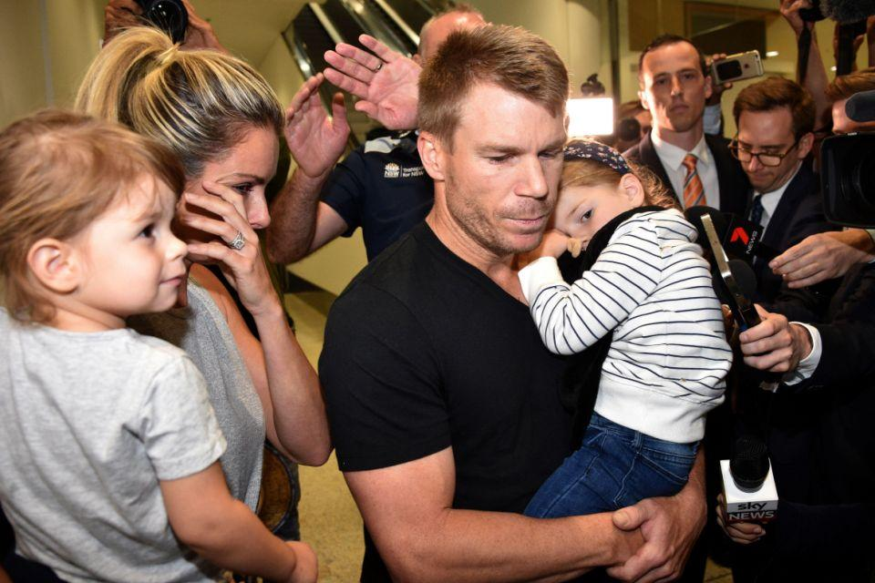 Candice broke down in tears as they faced a media scrum at Sydney Airport on their return from the fateful South African test. Source: Getty