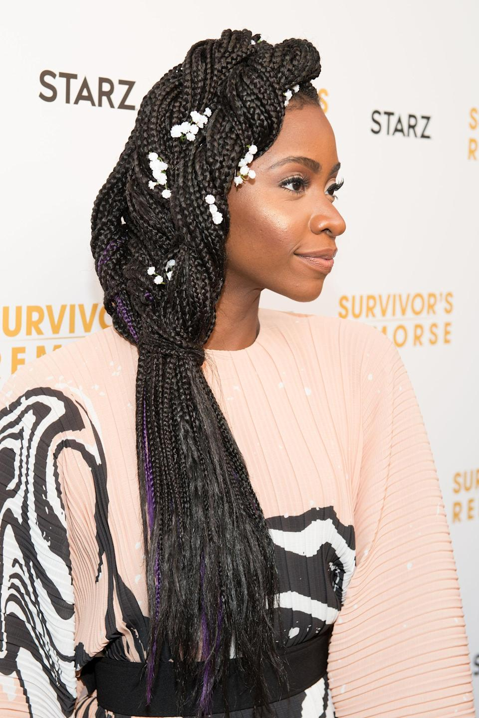 "<h3>Teyonah Parris</h3> <br>Actress Teyonah Parris twisted her <a href=""https://www.refinery29.com/en-us/box-braid-hairstyles"" rel=""nofollow noopener"" target=""_blank"" data-ylk=""slk:box braids"" class=""link rapid-noclick-resp"">box braids</a> into a gorgeous side braid, only made more elegant by those delicate <a href=""https://www.refinery29.com/en-us/2017/07/165670/bead-braids-trend"" rel=""nofollow noopener"" target=""_blank"" data-ylk=""slk:white floral accents"" class=""link rapid-noclick-resp"">white floral accents</a>.<span class=""copyright"">Photo: Noam Galai/Getty Images. </span><br>"