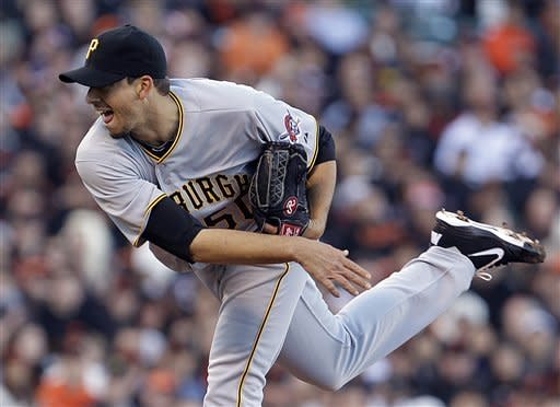 Pittsburgh Pirates' Charlie Morton works against the San Francisco Giants during the first inning of a baseball game Saturday, April 14, 2012, in San Francisco. (AP Photo/Ben Margot)