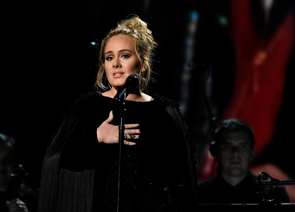 Feb 12, 2017; Los Angeles, CA, USA; Adele performs during the George Michael Tribute during the 59th Annual Grammy Awards at Staples Center. Mandatory Credit: Robert Hanashiro-USA TODAY NETWORK *** Please Use Credit from Credit Field ***