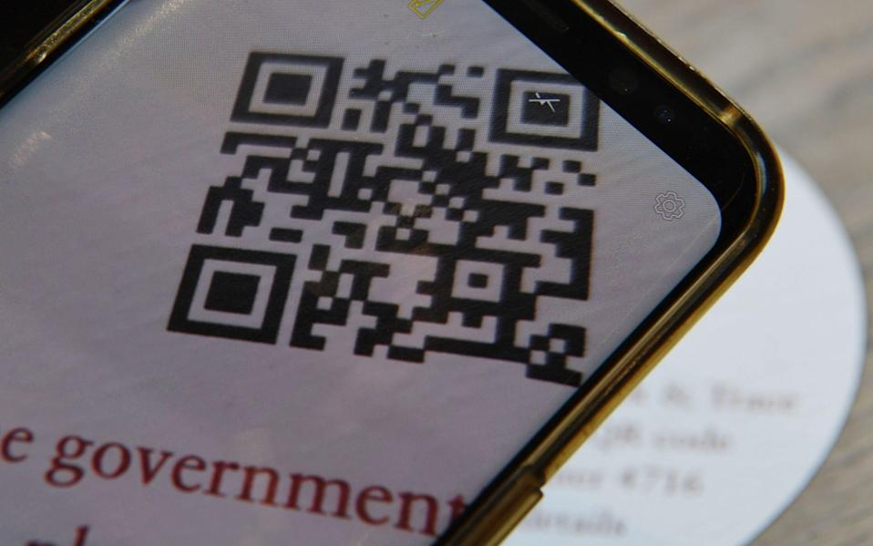 A QR code used in a cafe in London - NEIL HALL/EPA-EFE/Shutterstock
