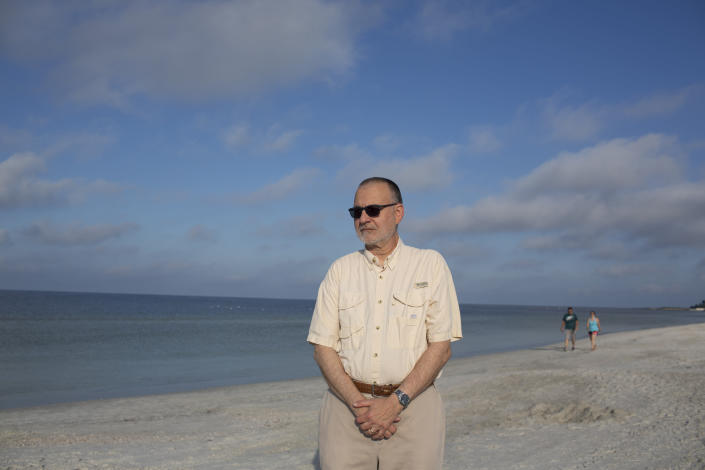 Sierra Club Florida Director Frank Jackalone at St. Pete Beach, Fla., where residents are still cautious about getting in the ocean water after a red tide was reported in recent months in St. Petersburg, Fla., Oct. 15, 2018. (Photo: Saul Martinez for Yahoo News)