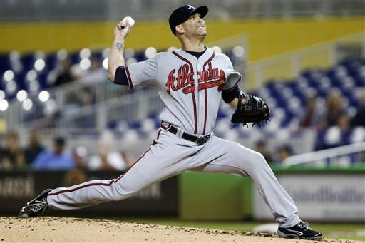 Atlanta Braves' Tim Hudson delivers a pitch during the first inning of a baseball game against the Miami Marlins, Monday, Sept. 17, 2012, in Miami. (AP Photo/Wilfredo Lee)