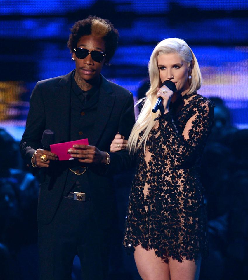LOS ANGELES, CA - SEPTEMBER 06:  (L-R) Rapper Wiz Khalifa and singer Ke$ha speak onstage during the 2012 MTV Video Music Awards at Staples Center on September 6, 2012 in Los Angeles, California.  (Photo by Kevin Winter/Getty Images)