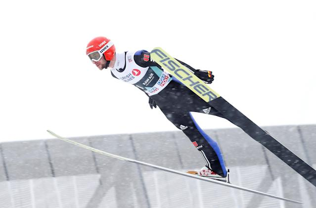 FIS Ski Jumping World Cup - Men's HS134 - Oslo, Norway - March 11, 2018. Andreas Schuler of Switzerland competes. NTB Scanpix/Terje Bendiksby via REUTERS ATTENTION EDITORS - THIS IMAGE WAS PROVIDED BY A THIRD PARTY. NORWAY OUT. NO COMMERCIAL OR EDITORIAL SALES IN NORWAY.