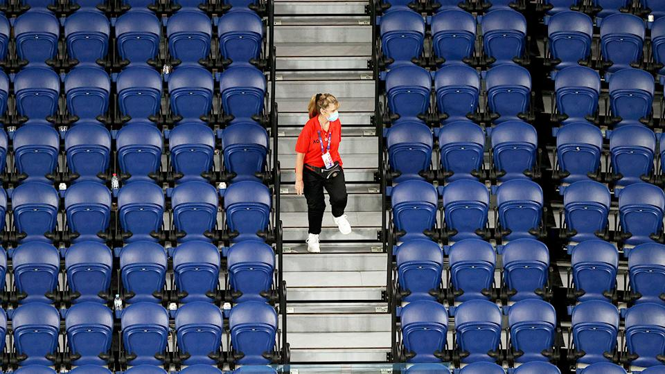The stands, pictured here empty during Novak Djokovic's clash with Taylor Fritz.
