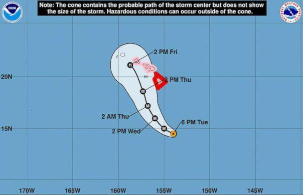 Hurricane Lane strengthened to Category 5 on Tuesday evening. (National Weather Service)