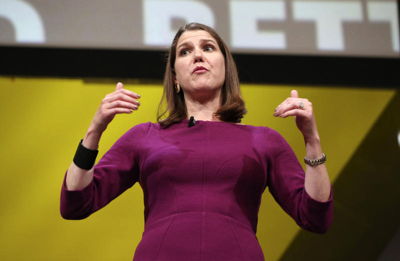Britain's Liberal Democrat Party leader Jo Swinson participates in a question and answer session during the Liberal Democrats autumn conference at the Bournemouth International Centre in Bournemouth, England, Sunday Sept. 15, 2019. (Jonathan Brady/PA via AP)
