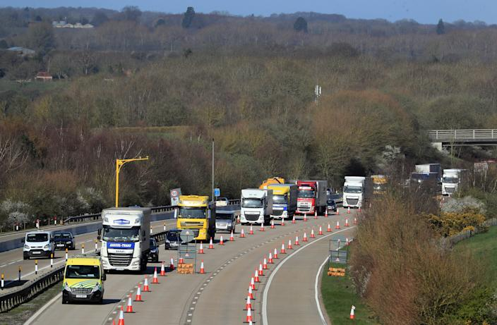 A view of the M20 motorway near Maidstone in Kent, as one side of the main motorway to the Port of Dover closes for Operation Brock, a contraflow system between junctions 8 and 9 to ease congestion in Kent if traffic grinds to a standstill in the event of a no-deal Brexit. (Photo by Gareth Fuller/PA Images via Getty Images)