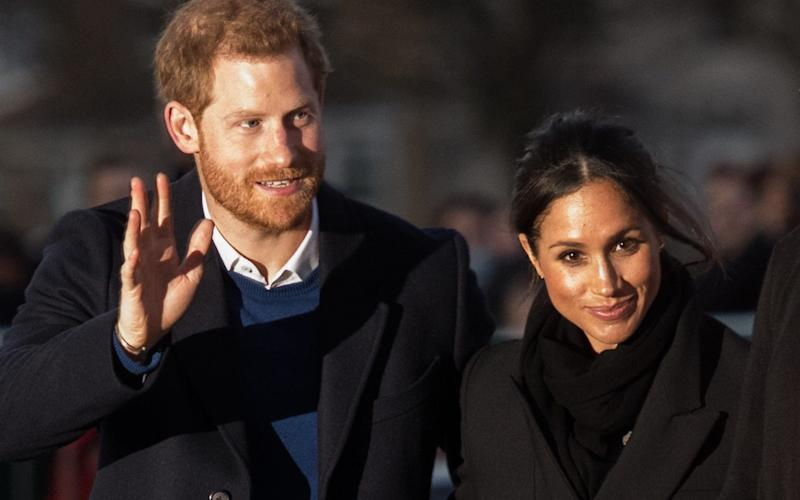 Prince Harry and fiance Meghan Markle in Cardiff in January  - WireImage