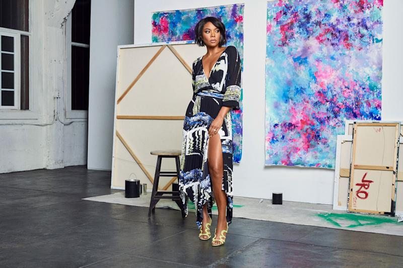 825a1567e66 Gabrielle Union Collection Print Wrap Blouse and Sharkbite Pleated Skirt