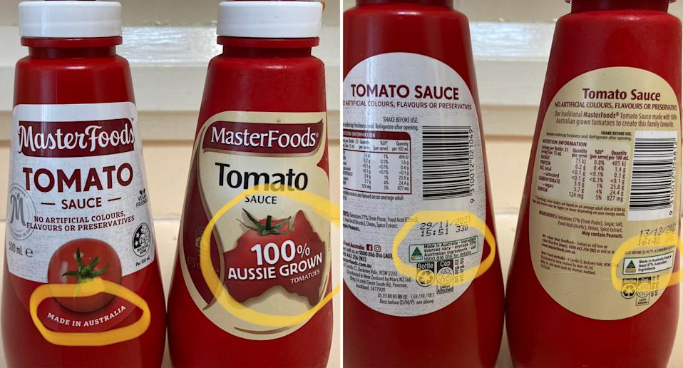 Masterfoods Tomato Sauce with two different labels