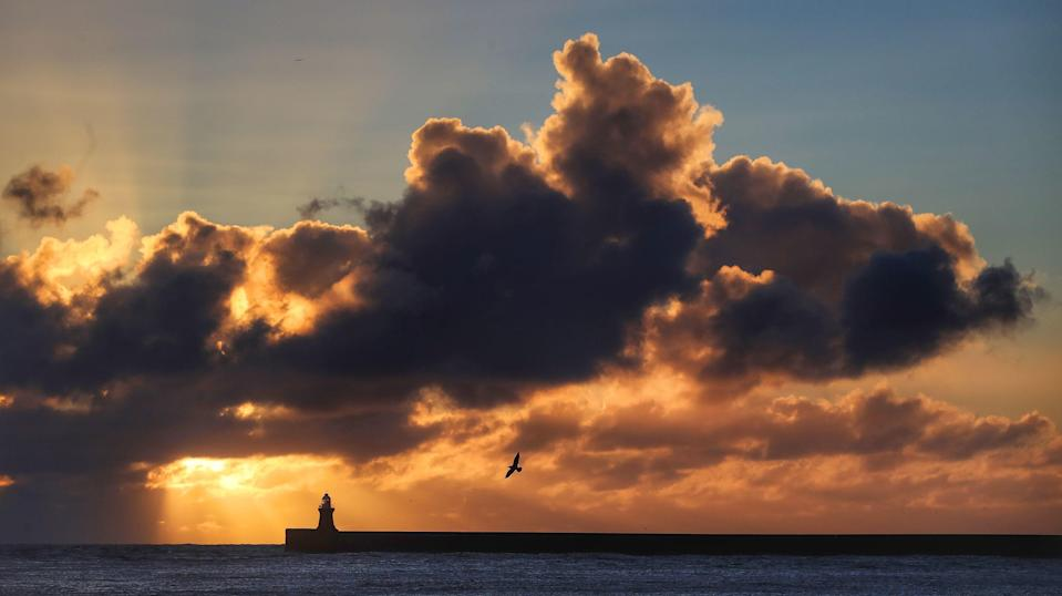<p>Cloudy skies are seen over South Shields </p>