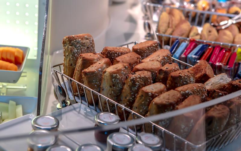 Bread selections featured at Emirates' airport lounges in Dubai. | Talia Avakian
